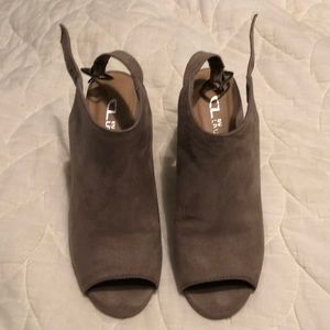 Open toe booties. Size 7M. Tan/taupe. EUC